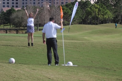 Foot Golf Putting Man Holding Flag Opens in new window