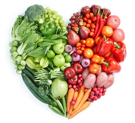 Vegetables in the shape of a heart graphic
