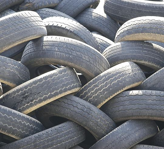 Old tires stacked in a pile