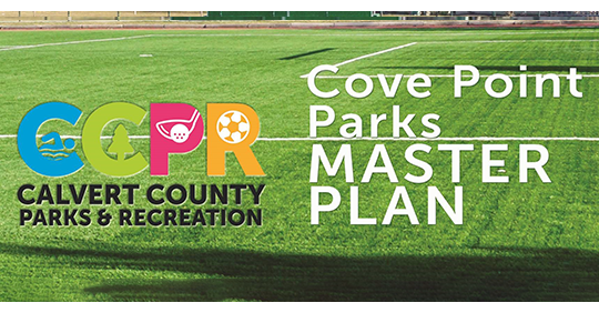 Image of grassy playing field overlaid with Calvert County Parks & Recreation logo and the text ""