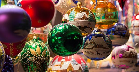 Colorful Christmas ornaments hanging on display